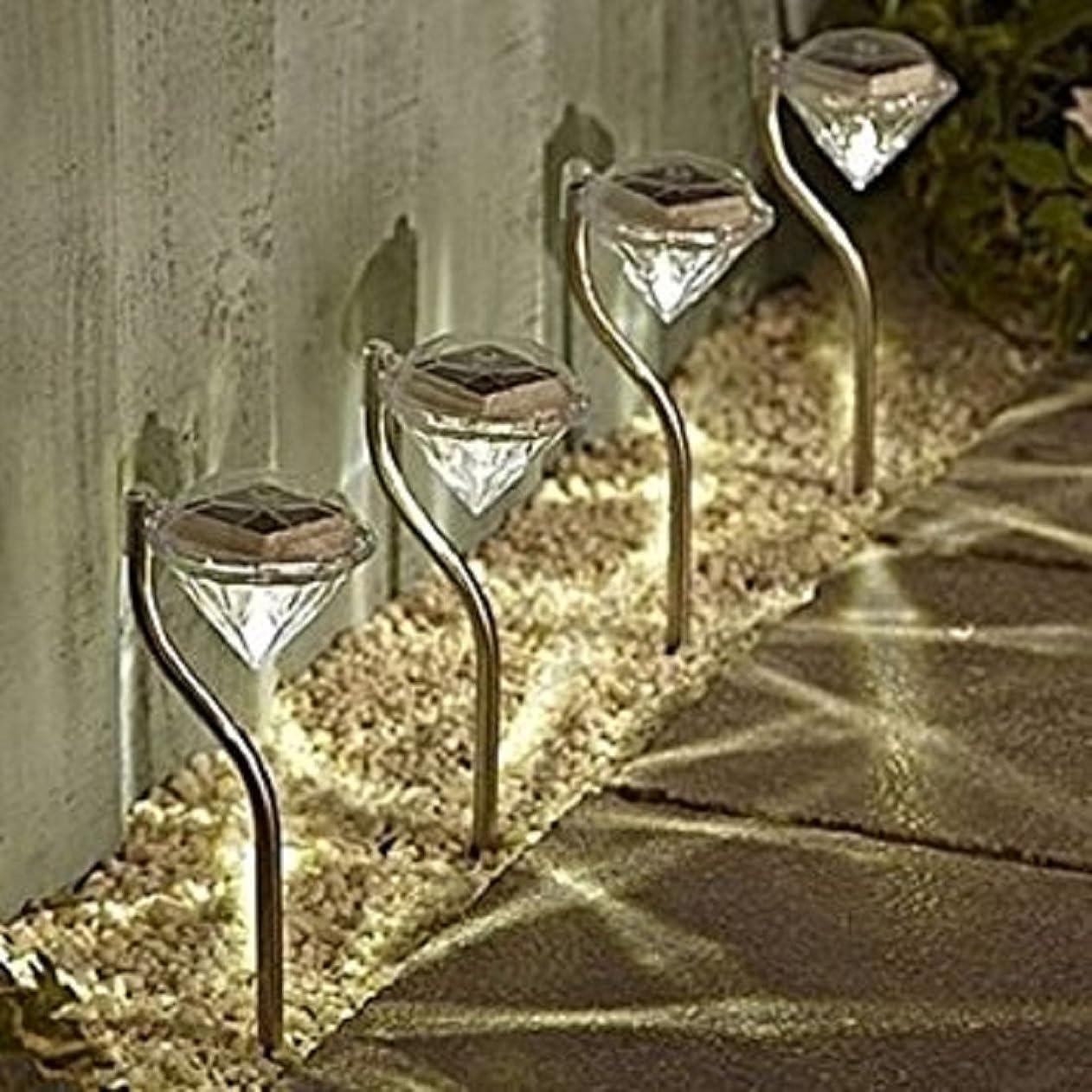 広告主段階酔ってダイヤモンドタイプ ガーデンライト 4個セット LEDライト ソーラーライト 屋外 ガーデニング (暖黄色)