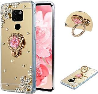 LCHDA Funda para Huawei Mate 20, Bling Flor Diamante de Imitación Espejo de Maquillaje con Purpurina Brillante Transparent...