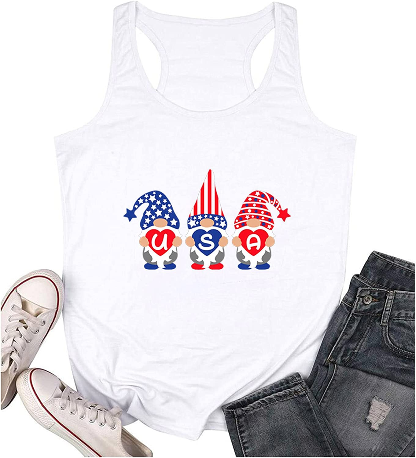 Aukbays Womens Leopard American Flag Star Tank Tops Cute July 4th Independence Day Graphic Tees Shirts T-Shirts Blouses