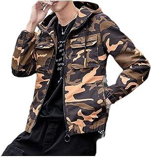 Mogogo Mens Trendly Hood Windbreaker Outwear Camo Zipper Jackets