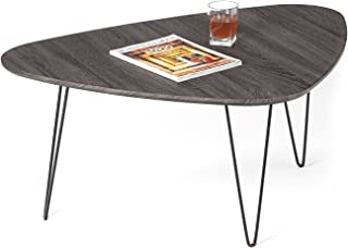 Mango Steam Saratoga Coffee Table - Brushed Black Oak - Wood Textured Top and Durable Steel Legs