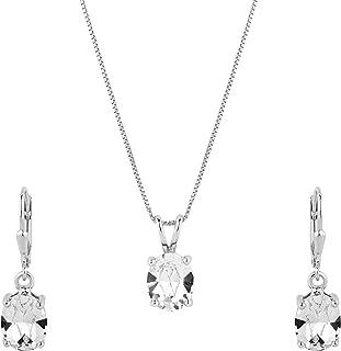ShahGems Swarovski Oval Earring Pendant Set Women's Stud Necklace Jewelry Gift