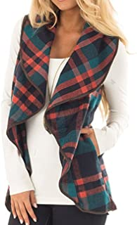 Wishment Women's Draped Open Front Lapel Sleeveless Plaid Vest Waterfall Cardigan Jackets