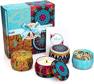 Yinuo Mirror Scented Candles Gift Set, Natural Soy Wax 4.4 Oz Portable Travel Tin Candles Women Gift with Strongly Fragrance Essential Oils for Stress Relief and Aromatherapy - 4 Pack