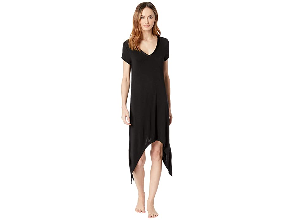 Mod-o-doc Rayon Spandex Slub Jersey Short Sleeve V-Neck Night Gown with Satin Trim (Black) Women