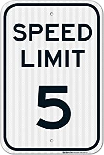 Speed Limit 5 MPH Sign, 12x18 3M Reflective (EGP) Rust Free .63 Aluminum, Easy to Mount Weather Resistant Long Lasting Ink, Made in USA by SIGO Sign