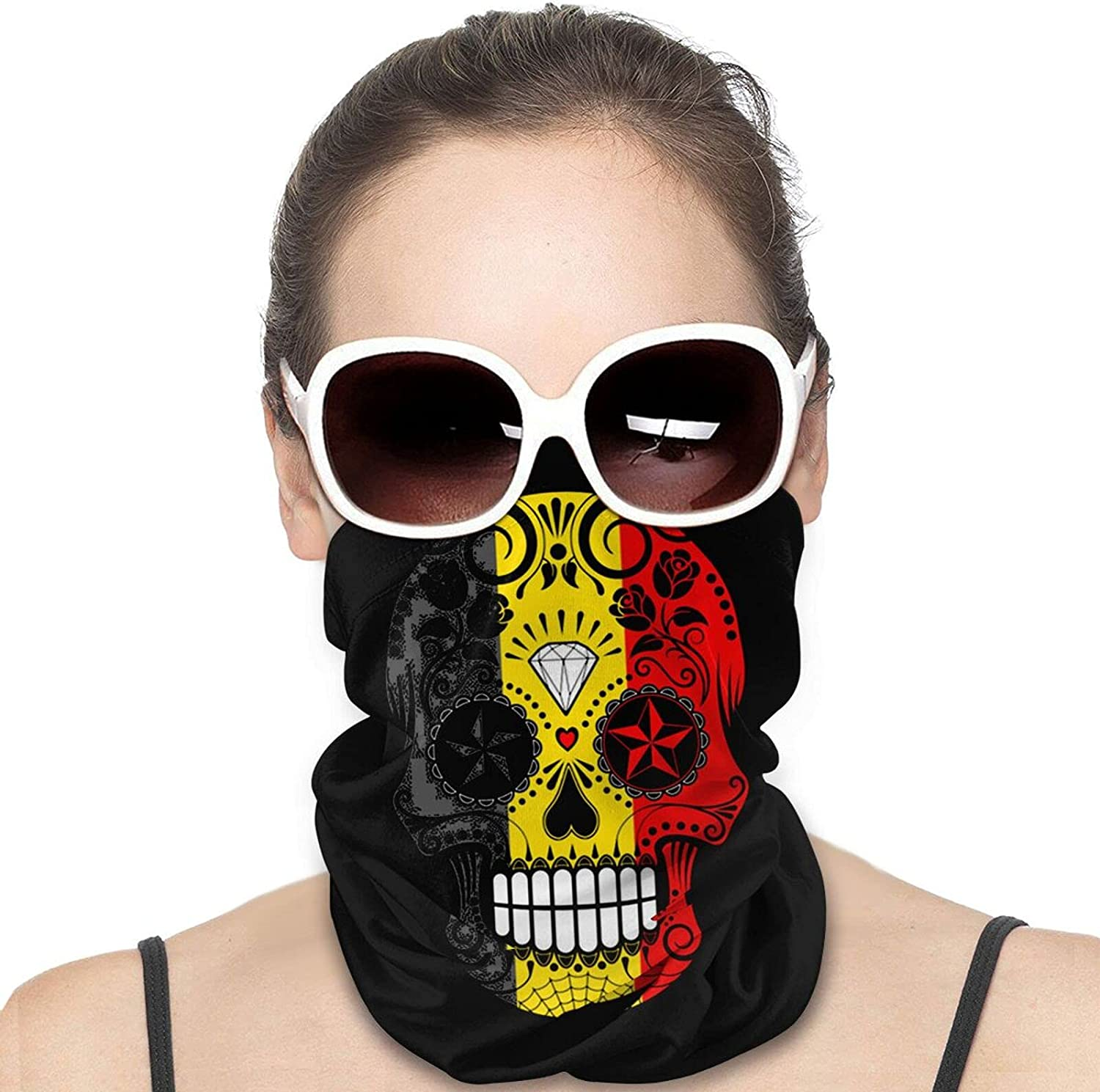 Belgian Flag Skull Round Neck Gaiter Bandnas Face Cover Uv Protection Prevent bask in Ice Scarf Headbands Perfect for Motorcycle Cycling Running Festival Raves Outdoors