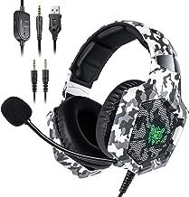 Casque PS4 ONIKUMA Casque Xbox One avec Microphone antibruit Casque Gaming avec 7.1 Surround Son Cache-Oreilles de m/émoire Respirant C/âble de 2,2 m/ètres Casque Gamer pour PS4 Mac PS2 PC
