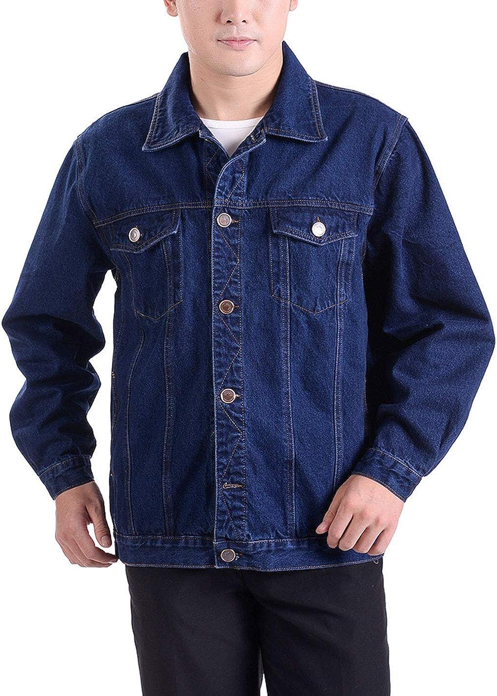 Omoone Men's Loose Lapel Collar Casual Denim Jean Workwear Jacket Coats