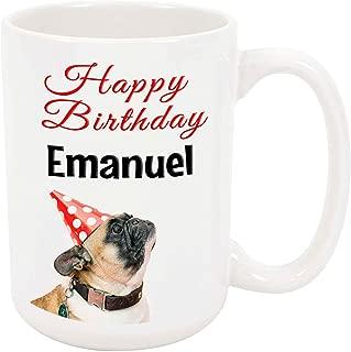 Happy Birthday Emanuel - 15 Ounce Coffee or Tea Mug, White Ceramic, Unique Birthday Present Gift Idea