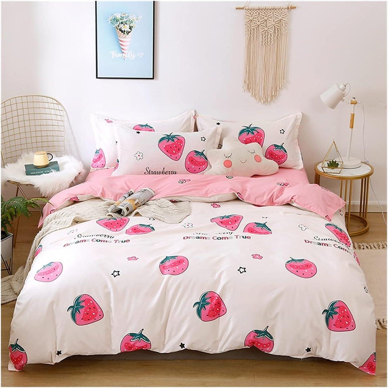Ranking TOP3 LSDJ QMDSH Home Textile Girl Bedding Peach Gifts Set Duvet Cover Pink