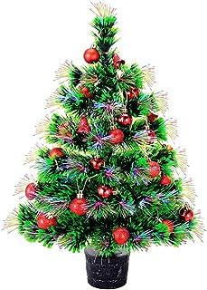 NULIPAM 22'' Artificial Fiber Optic Desktop Christmas Tree Mini Pre-lit Xmas Tree with Solid Base Balls Ornaments Decorations