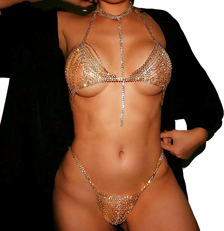 HIYIRUI Sexy 2021new shipping Omaha Mall free Body Chains Rhinestone and Glitter Bikini Bra Thong
