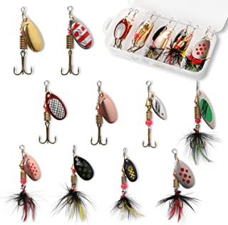 10pcs Fishing Lure Spinnerbait, Bass Trout Salmon Hard...