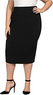 Women's Plus Size Stretch Long Tailored Calf Length Pencil Skirt Elastic Waistband