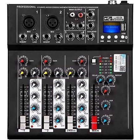 Depusheng HT4 Professional 4 canaux USB Jack mélangeur audio portable Bluetooth Live Studio Audio DJ Console de mixage sonore pour l'enregistrement sur ordinateur, bandes