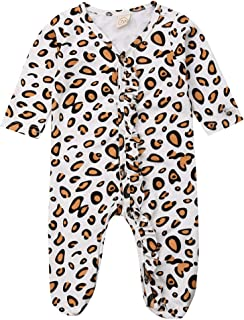 Newborn Infant Baby Girls Leopard Outfits Ruffle Romper Bodysuit One Piece Jumpsuit Footed Pajamas Clothes