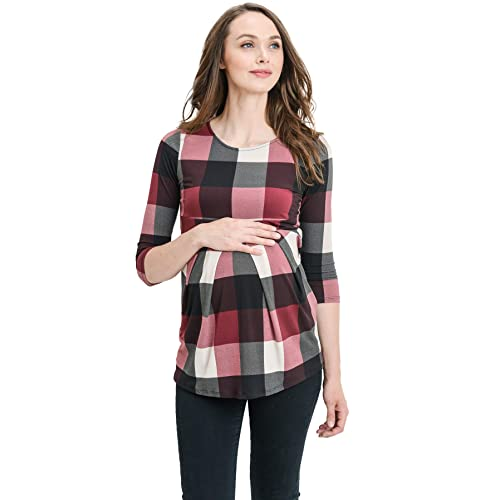 7d328755ab LaClef Women s Round Neck 3 4 Sleeve Front Pleat Peplum Maternity Top