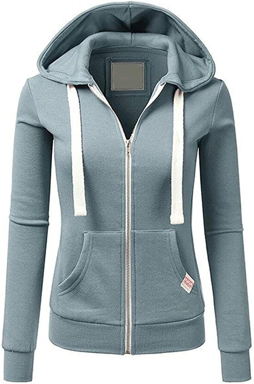 Amober Women Ladies Zipper Tops Hoodie Hooded Sweatshirt Coat Jacket Casual Slim Jumper