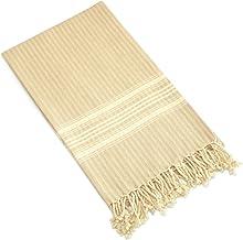 Linum Home Textiles Luxe Herringbone Pestemal 100% Soft Premium Authentic Turkish Cotton Luxury Pestemal, Beige, None