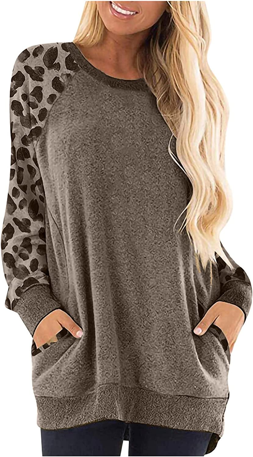 DOYIMBO Leopard Long Sleeve Tops for Women O-Neck Sweatshirt Side Pockets Blouse Color Block Plus Size Pullover