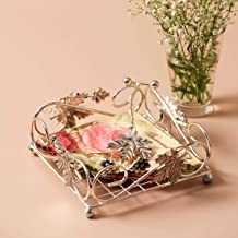 Nestroots Iron Napkin/Tissue Paper Holder for Dining Table - 19 cm x 19 cm x 7.6 cm, Silver