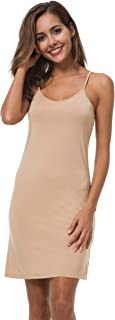 EaseWay Women's Basic Adjustable Spaghetti Strap Cami Under Mini Dress