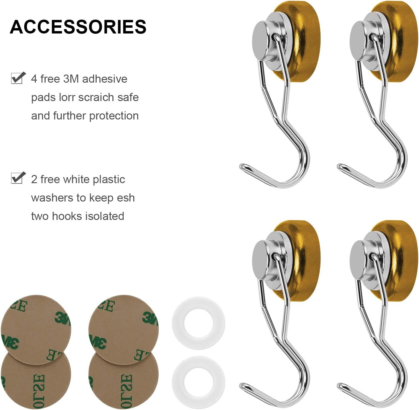 Blue Ant Mag Strong Magnetic Hooks 80lbs Swivel Heavy Duty Neodymium Magnet Hooks with Scratch Proof Stickers Great for Refrigerator Kitchen Store Door Grill BBQ Office Warehouse 4 Pack