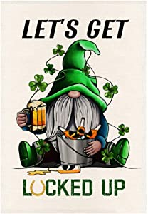 MONORD Happy Saint St. Patrick's Day Gnome with Shamrocks Garden Flag Vertical Double Sided, St Paddys Day Gnome with Clovers Yard Outdoor Decor 12.5 x 18 Inches