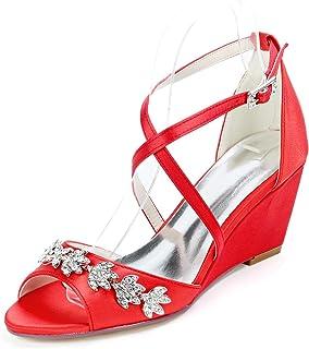 LGYKUMEG Femme Chaussures de Mariee Mariage Soiree Sandales à Talons Ouverts à Bout Strass Femmes Chaussures Mode Platefor...