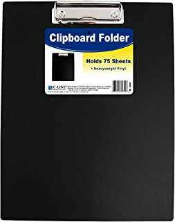 C-Line Clipboard Folder, Letter Size, Holds up to 75 Sheets, 1 Clipboard, Black (30601)