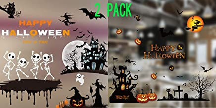 2 Sheet Sets Halloween DIY Window Static Sticker Clings Decals Stickers Wall Decals Wall Decor Pumpkins Spooky Witch Bats Tomb Wall Stickers for Halloween Party Supplies Favor with 2 Plastic Scraper