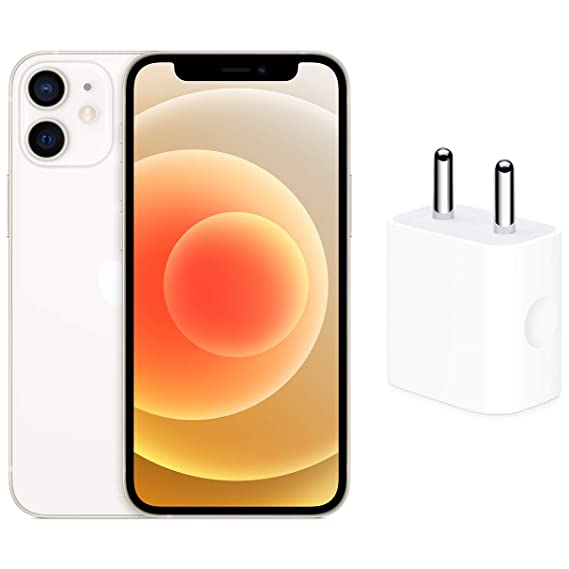 New Apple iPhone 12 Mini (64GB) - White with Apple 20W USB-C Power Adapter