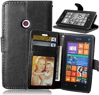 FUBAODA Funda de Piel para Microsoft para Nokia Lumia 520, [Cable Libre] función de Soporte móvil, Cierre magnético, Ranuras para Tarjeta de crédito para Microsoft para Nokia Lumia 520 (525) (Negro)