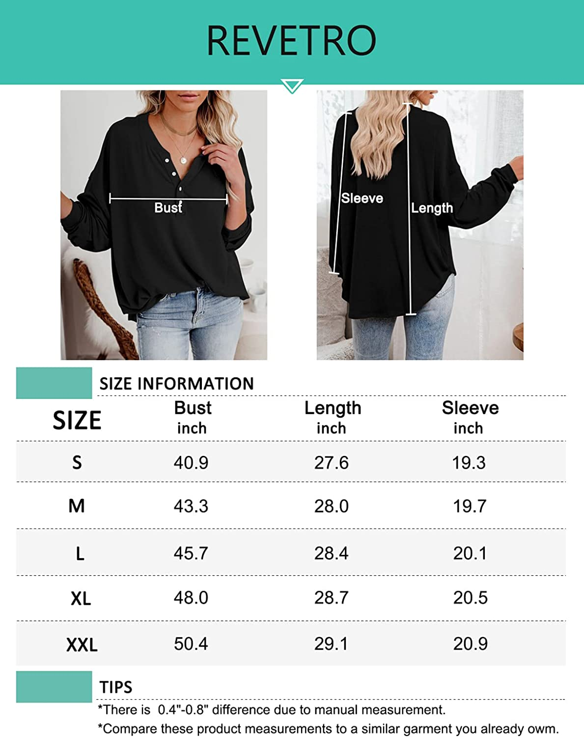 Dressmine Women's V Neck Henley Shirts Long SleeveCasualLooseTunic Tops Pullover Sweatshirts withButtons