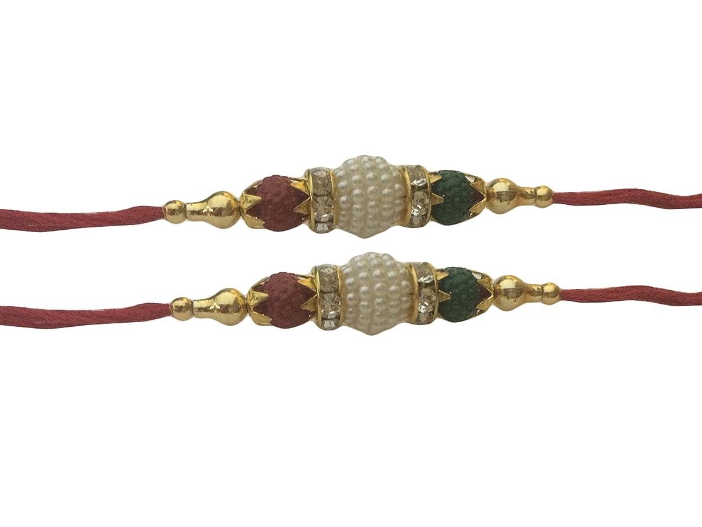 Set of Two Rakhi, White Moti Thread. Rakhi, Raksha bandhan Gift for your brother,Color Vary and Multi Design