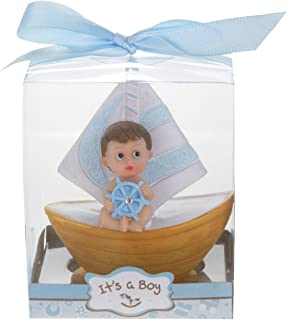 Mega Favors 12 pcs Party Keepsake Baby Sitting in a Blue Sail Boat, Awesome Party Favors for Baby Shower Announcement Parties, Boys or Girls Party & Other Themed Events