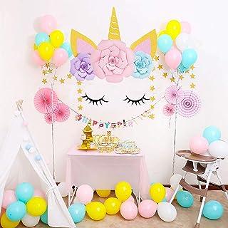 Sayala Licorne Thématique Fond/Tête de Licorne Mignon avec des fleurs Fond Décors Fête d'anniversaire Douche de bébé Enfan...