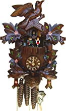 "Schneider 13"" Cuckoo Clock with Moving Birds and Hand-Painted Flowers"