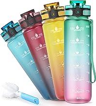 Sahara Sailor Waterfles, 32oz/1000ml Sport Waterfles met motiverende tijd Marker, niet-giftig plastic, lekbestendige drank...