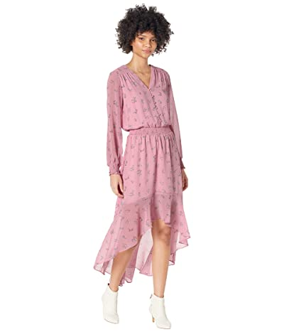 1.STATE Long Sleeve Button Front High-Low Dress (Petite Calico Roses) Women