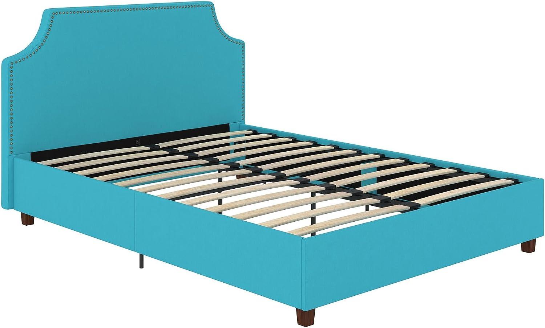 DHP Melita Linen Upholstered Platform In a popularity Full Teal Save money Bed Frame