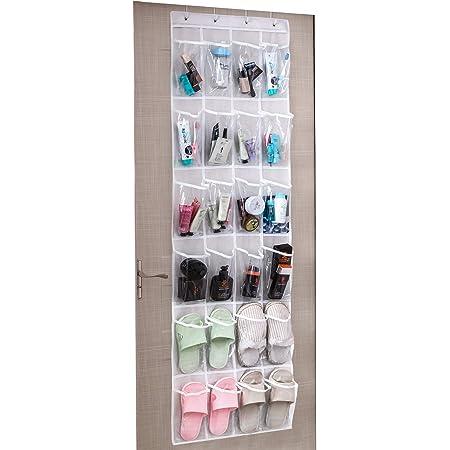 Amazon Brand – Umi Range Chaussures Gain de Place, Rangement Chaussures sur la Porte, Organiseur de Chaussures à Suspendre, 24 Compartiments, avec 4 Crochets, 48,3W x 162,6H, Blanc + Transparent