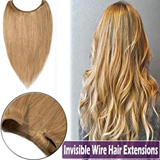 20 Inch Secret Wire Human Hair Extensions Thin Hidden Fish Line in Hair Extensions Long Straight No Clips No Glue Hairpieces Invisible Fish Line 70g #27 Dark Blonde
