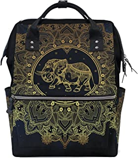 Hippie Indian Elephant Mandala Mommy Bag Mother Bag Travel Backpack Diaper Bag Daypack Nappy Bags for Baby Care Large Capacity