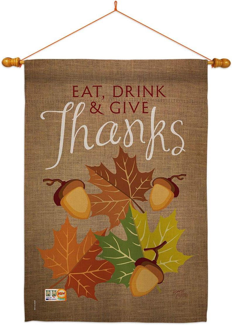 Breeze 驚きの値段 Decor Thanksgiving Eat Drink Dowel Give Set Flag 国内送料無料 House