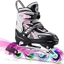 Gonex Inline Skates for Girls Boys Kids, Adjustable Skates for Teens Women with Illuminating Light Up Wheels for Outdoor Skating