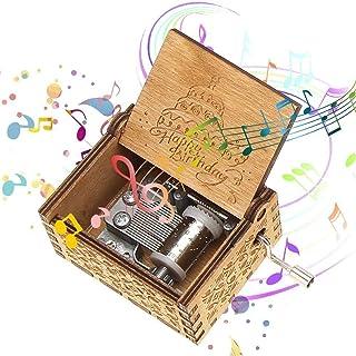 Starthi Wooden Music Box Hand Crank Musical Box Happy Birthday Classic Mini Wooden Music Box Wood Carved Music Box Gift fo...