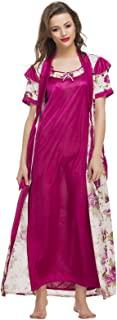Clovia Women's 2 Pcs Printed Satin Nightwear in Winerobe & Nightie