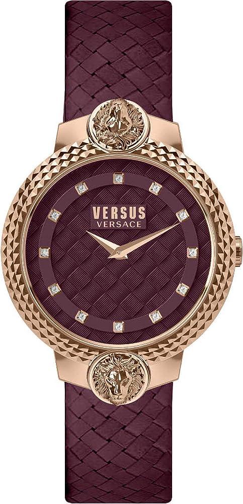 Versus versace orologio da donna cassa in acciaio e cinturino in pelle VSPLK1420